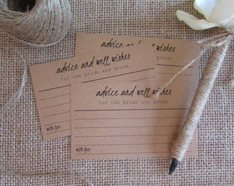 Rustic Wedding Advice Cards | Advice and Well Wishes for the Bride and Groom | Bridal Shower Advice Cards | Guestbook Alternative