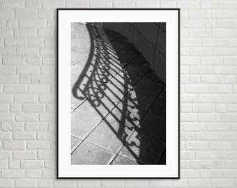 "mounted and signed 4"" by 6"" print - stair rail - shadow art black and white print"