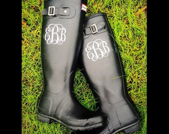 Set of 2 Vinyl Circle Vine Monogrammed Rain Boot Decals Personalized