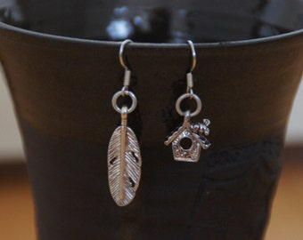 """SALE Only 1 available! Cute earrings """"feather and birdhouse"""""""