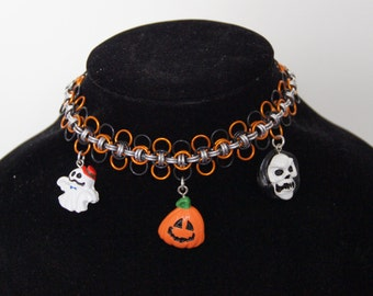 Only 1 available! Cute halloween chainmaille choker