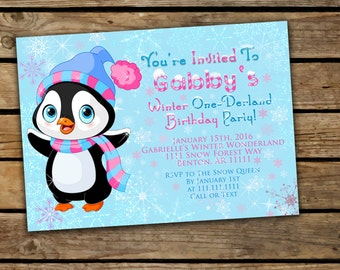 One-Derland Invitation, First Birthday Invitation, Penguin Invitation, Onederland Invitation