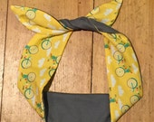 Sunshine bikes and soft grey reversible wired headscarf. Kitsch head band. Yellow bikes hair tie. Gift for bike lovers. Reversible scarf