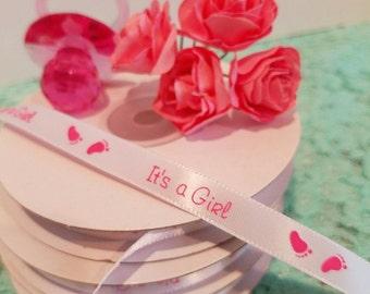 It's a girl ribbon,baby shower ribbon,it's a girl party favor ribbon,party favor ribbon,baby shower party favors,it's a girl party favors
