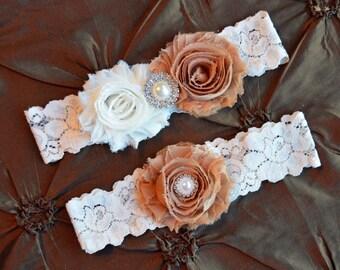 Wedding Garter Set, Bridal Garter Set, Ivory Lace Garter, Keepsake Garter, Toss Garter, Tan Wedding Garter Set, Tan & Ivory Wedding Garter