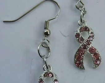 Breast Cancer Awareness Pink Crystal Ribbon Charm Earrings