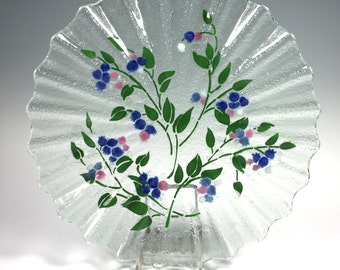 Blueberry Fluted Serving Dish