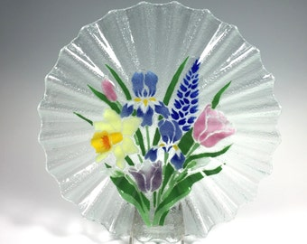 Spring Flowers Fluted Serving Plate