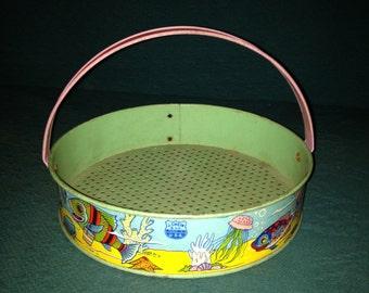 Vintage J Chein Tin Litho Sand Sifter Rare Metal Beach Toy Bucket