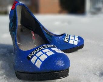 Doctor Who Tardis Hand Painted Heels