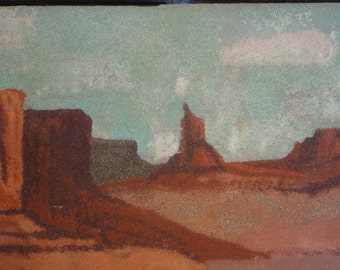Vintage Sand Painting on Wood Board/Red Rocks/Unsigned