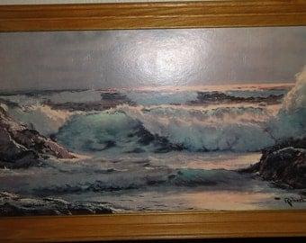 Vintage Robert Wood Litho on Board/Framed/Titled Surfside