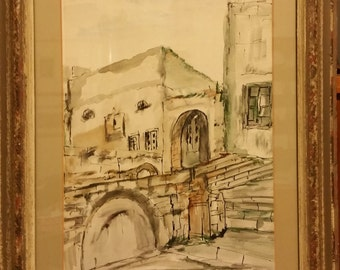 "Vintage Original Ink and Watercolor Painting of Haari Synagogue, Safad, Israel 19"" x 15"" Signed by artist Yardeni"