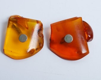 Set of Vintage Cuff Links, Natural Baltic Amber stones  (DZ)