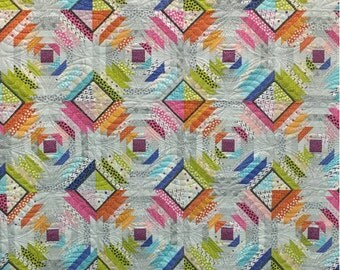 Sliced by Gigi's Quilts Lollies Quilt Kit 18120 with Just a Speck Behind the Scenes and Lollies Fabric by Jen Kingwell Size 74 by 74