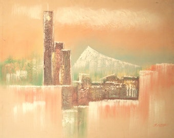 Huge Wall Art - Oil Painting Mid Century Asian - Original Signed Framed - Abstract Cityscape Pink