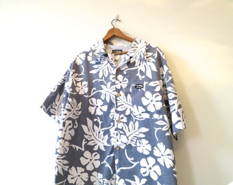 SALE 90s Quiksilver shirt, chino cotton shirt, floral shirt, beach surf,  button up down, XL Extra large, grey white, vintage, 416/297