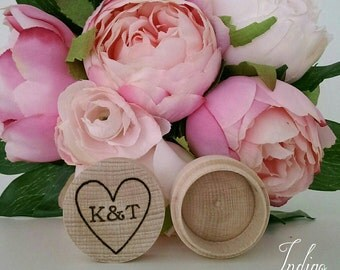 Personalised round wooden ring box