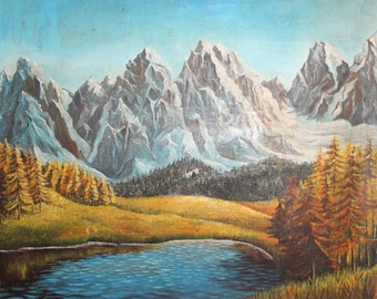 Vintage oil painting landscape mountain lake signed