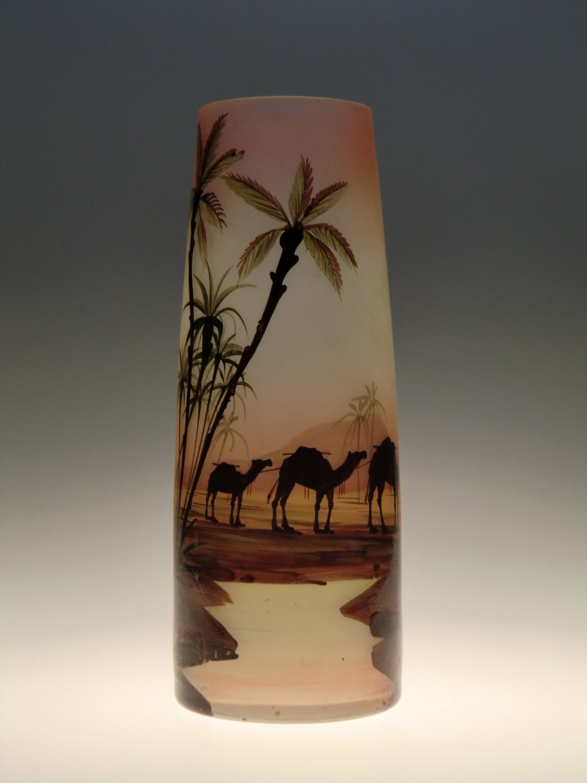 czech bohemian art deco painted egyptian motif vase by karl