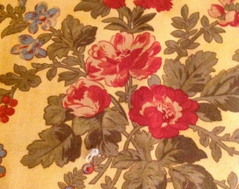 Vienna Nights, Yellow fabric, Red Floral fabric, by 3 Sisters for Moda, Fabric from the Bolt