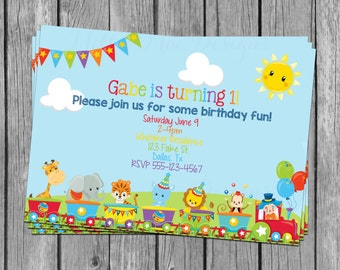 SALE 50% OFF Custom Circus Animal Invitation - Birthday - Baby Shower