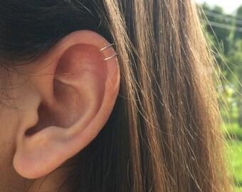 tiny double wrap ear cuff, fake piercing, no piercing needed, double cuff, small upper ear cuff, cartilage cuff, dainty ear cuff, boho cuff