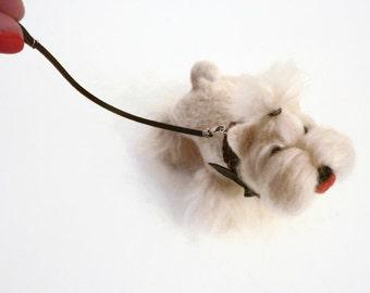 Needle felted Westie, Needle felted dog, Felt dog sculpture, Needle felted terrier, Miniature Westie, Miniature dog, summer trends, cute
