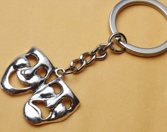 Comedy Tragedy Mask Pewter Motif Key-Ring Performing Arts Theater Gift