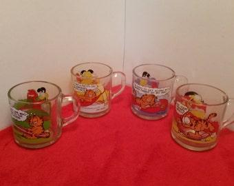 garfield McDonald's mugs set of 4 / funny mugs / Jim Davis