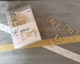 Set of 12 gold bow paperclips (PA01)