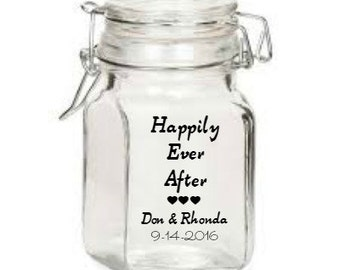 """Monogrammed Wedding Glass Jars Flip Lid 1-3/4"""" x 3"""" Personalized party favor-Wedding Decoration, party decorations personalization"""
