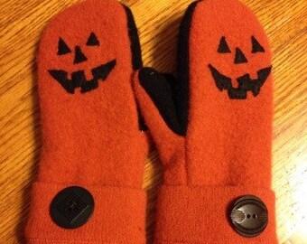 Boooooooo! Soft and warm handmade wool sweater mittens