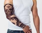 Temporary Tattoo DARK SKULL TRIBAL, Unisex Mesh Tattoo Sleeve, Large Tattoo, Fake Tattoo, Tribal Tattoo, Skull Tattoo, Man Gift, Dad's Gift