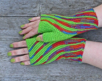 Striped wool hippie gloves, Bright green knit wrist warmers, Unique present for birthday, Cool gifts for teens