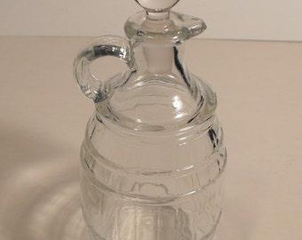 Apple Pie Ridge Pure Apple Cider Vinegar Clear Glass Cruet with Glass Stopper Embossed Barrell Pattern #16