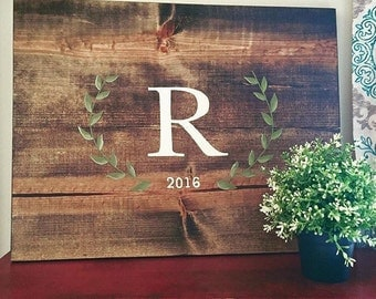 Hand-Painted Rustic Wooden Pallet-like Guest Book with Wreath Detail