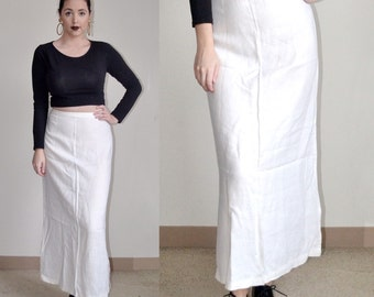 Vintage Ivory/White Linen Maxi Skirt (Size M/L)