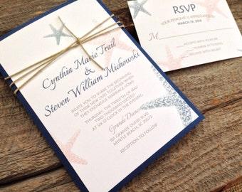 Beach Wedding Invitation Set, Starfish Wedding Invitation, Navy Wedding Invitation, Destination Wedding Invitation,Ocean Wedding Invitation