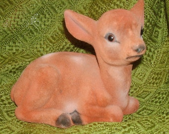 Old FLOCKED Deer-Fawn BAMBI Figure for Christmas, Decor, Woodland Prop