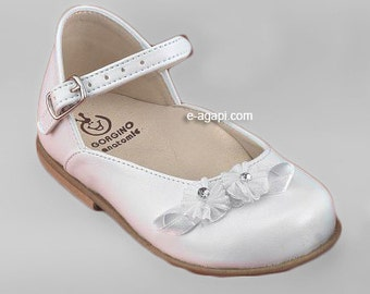 Leather baby girl shoes white cream flower strass elegant baby wedding shoes baby baptism shoes size 4 5 6 7 8 9 US EU occasions 16351A2072