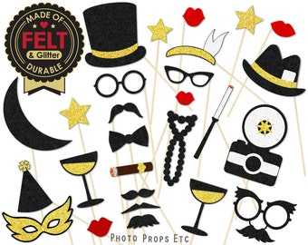 1920s Party Favor - Photo Props, Photobooth - Flapper, Jazz, Roaring 20s, Speakeasy - Red, Black, Gold