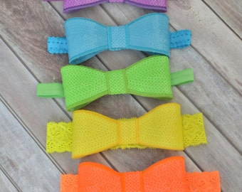 Neon Sequin Bow Headbands