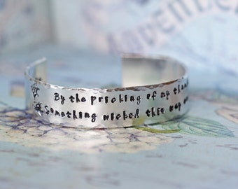 Shakespeare Jewelry - Something Wicked this way Comes Cuff Bracelet - William Shakespeare Macbeth Quote - Shakespeare Bracelet