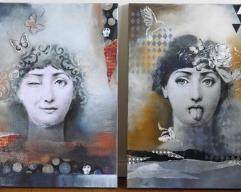 Special offer black friday/ christmas special, both collagen mixed media paintings, fornasetti, acrylic paintings by Beate Frieling