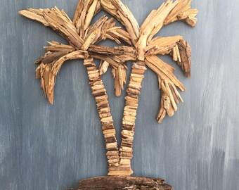 Driftwood Double Palm Tree Coastal Wall Decor