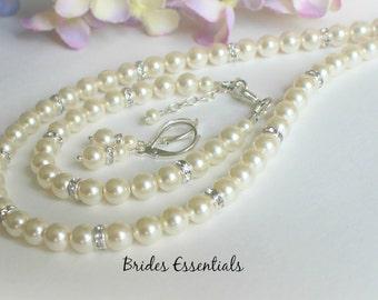 Child Pearl Necklace Bracelet Earring Set, Flower Girl Jewelry, Swarovski Pink Pearl, Wedding Jewellery, Child Ivory White Pearl Necklace