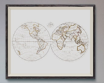 Early Vintage Map of the world by Mary Van Schaack- 1811 - Map Poster, Vintage Map Art Print