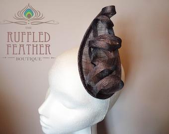 Silver dark grey sinamay fascinator, hat, head piece, with sinamay loops