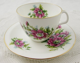 Vintage Tea Cup and Saucer, Vintage Bone China, by Heathcote with Pink Flowers